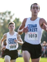Cedar Crest's Adam Wolfe (back) finished 11th just behind his teammate Jesse Cruise (10th) during Tuesday's Lancaster-Lebanon League meet at Ephrata Middle School.