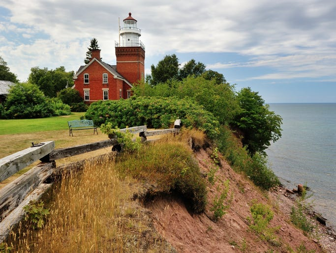 "Michigan, the 26th state, is named after the Ojibwa word meaning ""big water."" The state most associated with the Great Lakes offers plenty of beauty, both on and off the water. Pictured here is Big Bay Point Lighthouse on Michigan's Upper Peninsula."