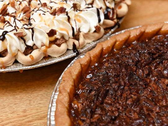 A turtle pie with pecans and a pecan pie baked Thursday, June 28, at Kay's Kitchen in Midtown Square Mall.
