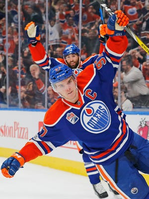 Edmonton Oilers forward Connor McDavid (97) celebrates his third period gaol against the Philadelphia Flyers at Rogers Place.