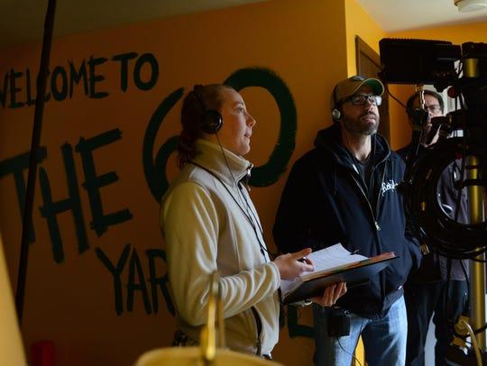 Script supervisor Kelsey O'Brein, left, and Director