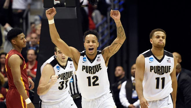 Boilermakers forward Vince Edwards (12) celebrates after defeating the Iowa State Cyclones in the second round of the 2017 NCAA Tournament at BMO Harris Bradley Center.