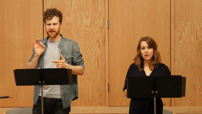 "Matt Holzfeind and Melanie Keller, from left, give a reading of the play ""Salvage"" for Peninsula Players' ""The Play's the Thing"" winter play reading series in 2017. The play, like several others from the series, will be fully staged this year for Players' regular season."