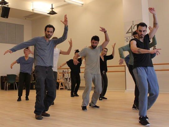 Israeli choreographer Hofesh Shechter, front left,