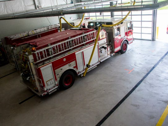 The apparatus bay in the Kimball Township Fire Station