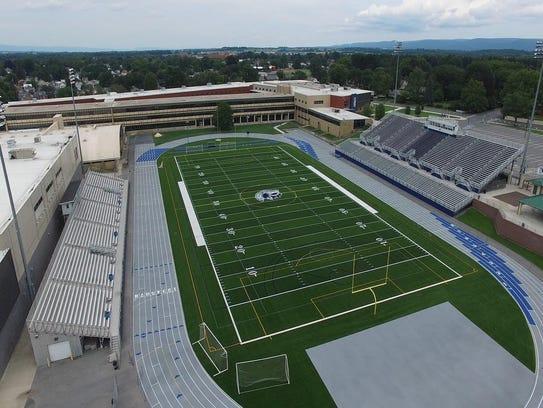 The track and field at Chambersburg's Trojan Stadium