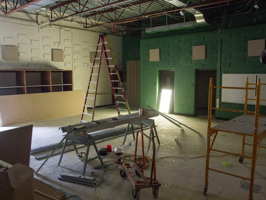 Construction of the band room at Holland Woods, Aug.