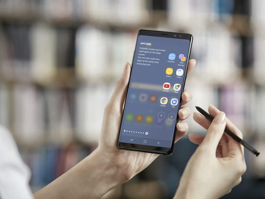 The new Samsung Galaxy Note 8. Opening two apps at