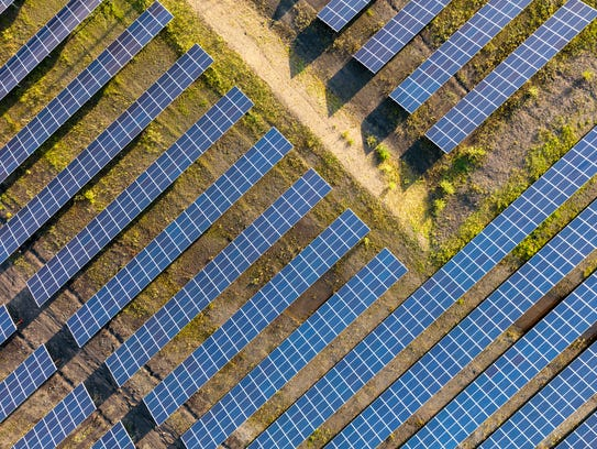 A solar array used to power a Google data center near St. Guislain in Belgium.