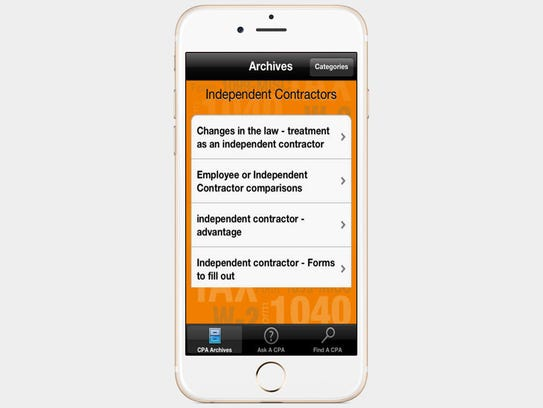 The Ask A CPA app provides tax-related answers for