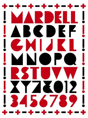 The newly created Mardell font honors a long time wood type cutter from Two Rivers.