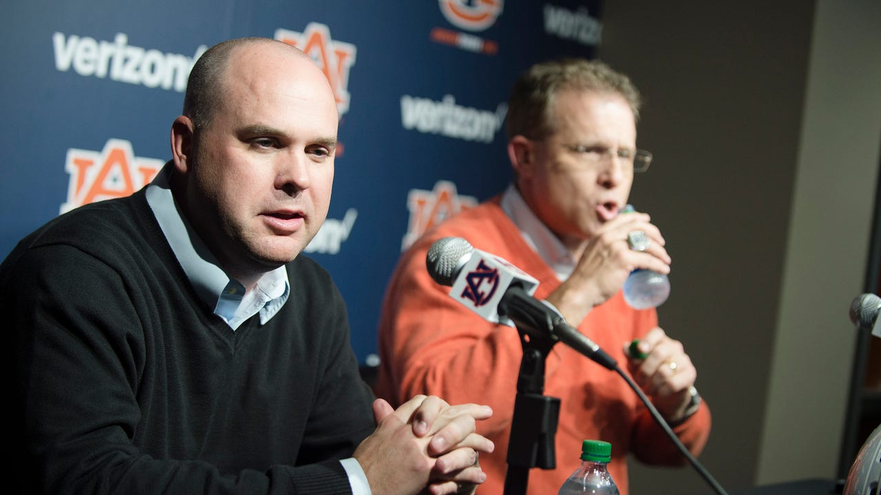 Auburn coach Gus Malzahn and new offensive coordinator Chip Lindsey media conference