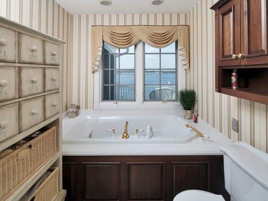 The master bathroom with a soaking tub.