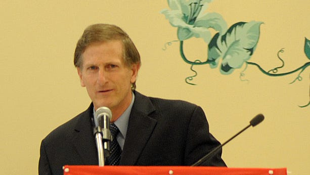 Sussex County Councilman Vance Phillips speaks at the Indian River Senior Center on May 8, 2013.