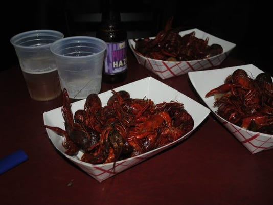 Crawfish and Louisiana beer at a jazz club on Frenchman.