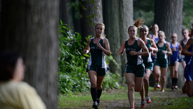 Green Bay Notre Dame's Ashlyn Arett, left, Kristen Burkel, front right, and Anna Patterson run through a wooded area of the course Thursday during the Green Bay City Meet at Colburn Park.