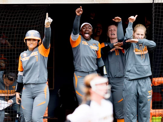 Players celebrate a run during a game between Tennessee and Missouri at Sherri Parker Lee Stadium in Knoxville, Tennessee on Saturday, March 10, 2018.