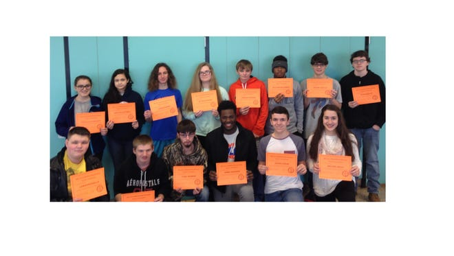 Some of the students who achieved perfect attendance for the first semester of the 2015-2016 school year at Millville Senior High School are pictured with their certificates.