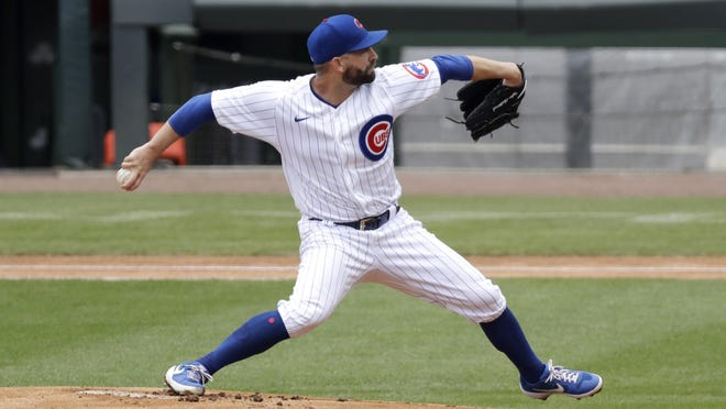 Chicago Cubs pitcher Tyler Chatwood throws the ball during an intra-squad baseball game at Wrigley Field in Chicago, Wednesday, July 15, 2020.