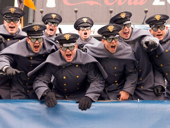Army Black Knights cadets show their excitement during