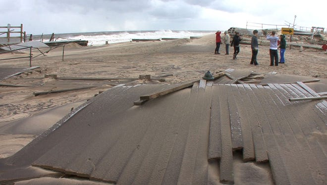The boardwalk along the oceanfront in Sea Girt was destroyed by superstorm Sandy.
