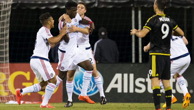 Chicago Fire forward Jason Johnson (7) celebrates after scoring the tying goal of the game as Columbus Crew SC forward Justin Meram (9) reacts at MAPFRE Stadium.