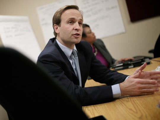 Lt. Governor Brian Calley during a Mission Flint group