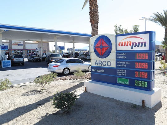 The Arco AM PM gas station on Jefferson St. in Indio dropped the price of regular unleaded gas to $1.99 for four hours Monday afternoon, January 21, 2018.