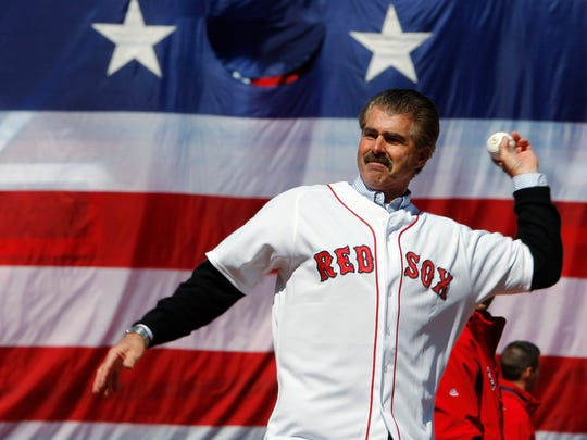 Former Boston Red Sox player Bill Buckner throws out