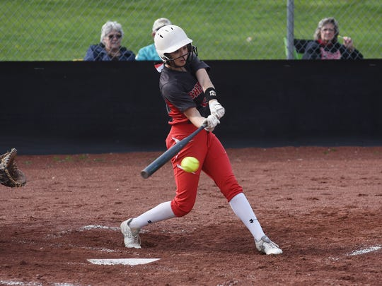 Sheridan's Taylor Pagan hits the ball against Tri-Valley earlier this season. Pagan was named the MVL softball player of the year.