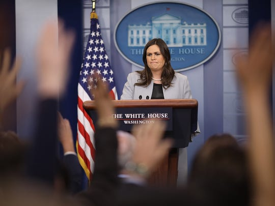 White House press secretary Sarah Huckabee Sanders answers questions during a briefing at the White House on March 7.