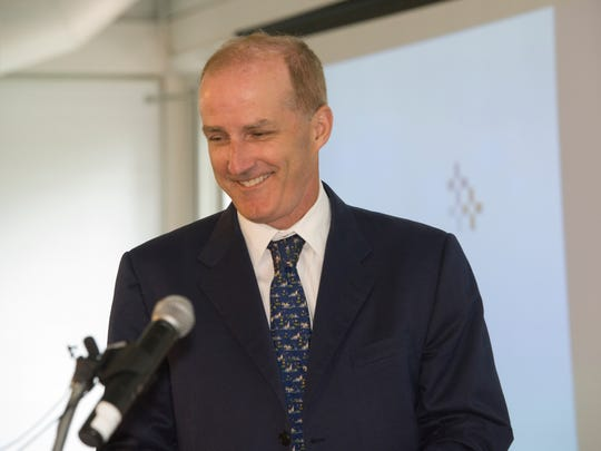 David Crane, president and CEO of NRG, holds a joint press conference at the Inn at Essex on Tuesday, as Green Mountain Power and NRG Energy, a national Fortune 250 company, announced a partnership that will establish Rutland as the Energy City of the Future and position Vermont as a leader in the movement toward cost-effective sustainable energy solutions.