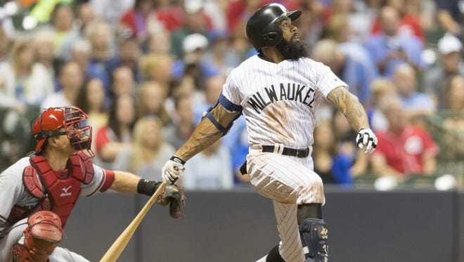 Eric Thames hit his 10th home run in 11 games against the Reds this season.