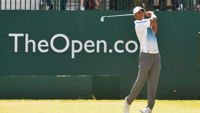 Tiger Woods, a thee-time British Open champion, shot 69 in the opening round of this year's tournament at Royal Liverpool. Woods on the the title in 2006 the last time it was at the golf course.