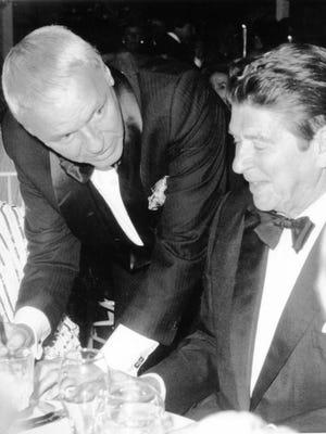 President-elect Ronald Reagan with Frank Sinatra at Marriott's Ranch Las Palmas $2500 per plate fundraiser for Eisenhower Medical Center on November 29, 1980.