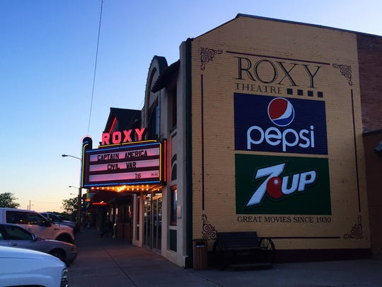 The Roxy Theater in Forsyth has been in business since 1930. It has an unusual Spanish facade.