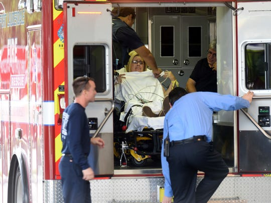 A shooting victim arrives at Broward Health Trauma Center in Fort Lauderdale, Fla., following a shooting at the Ft. Lauderdale International Airport Friday.