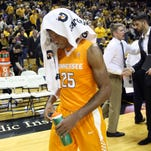 Tennessee guard Shembari Phillips (25) walks off the court after the Vols lost 75-64 at Missouri on Feb. 13, 2016.
