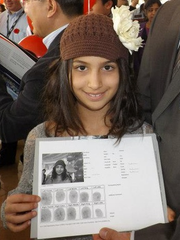 Parents will be given a document with the child's information, fingerprints and photo.