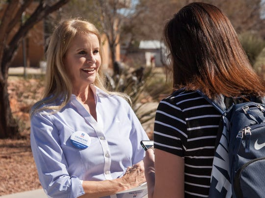 Congressional candidate Charlene Albarran meets with students on the campus of Dixie State University Wednesday, Feb. 24, 2016.