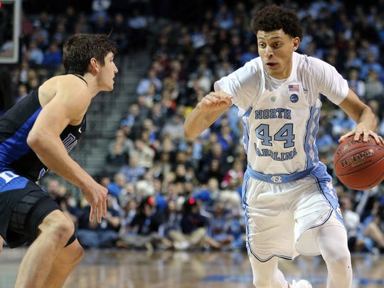 Justin Jackson may not be around when the Bucks draft, but he is experienced and has improved his three-point shooting.
