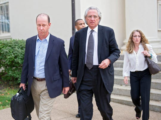 Jim and Evelyn Piazza leave the the Centre County Courthouse with their attorney Tom Kline after the judge ruled and dropped some charged  in the death of their son, Tim Piazza on Friday, Sept. 1, 2017 in Bellefonte, Pa. District Justice Allen Sinclair dismissed charges altogether against four of the members of the now-shuttered Beta Theta Pi fraternity. Fourteen fraternity brothers are now headed to trial in the case. Two had previously agreed to waive a preliminary hearing. Charges remaining range from alcohol violations and hazing to reckless endangerment.