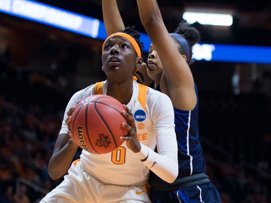 Tennessee's Rennia Davis (0) takes a shot during the women's NCAA Tournament first round game between Tennessee and Liberty at Thompson-Boling Arena Friday, March 16, 2018. Tennessee defeated Liberty 100-60.