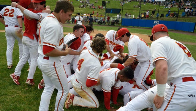 Bergen Catholic players celebrate their win over Don Bosco at the Bergen County Baseball Tournament Finals in Demarest.