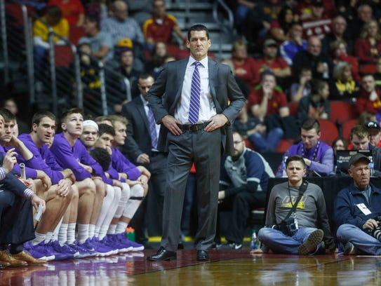 Northern Iowa head coach Ben Jacobson watches as Iowa