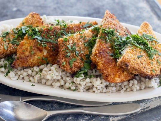 Sweet-and-spicy panko-crusted chicken.