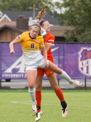 Northern Iowa's Hannah McDevitt and UE's Mikayla Harvey crash into each other as they both try to head the ball during Sunday afternoon's game.