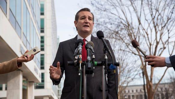 Texas Sen. Ted Cruz speaks to the media on March 22,