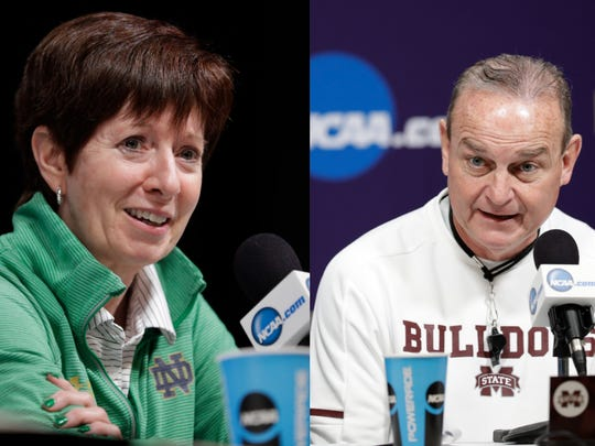 Notre Dame coach Muffet McGraw, left, and Mississippi State coach Vic Schaefer.