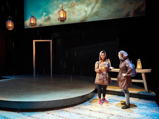 """Ernaisja Curry (left) and Kelly Mengelkoch had featured roles in Steven Dietz's """"The Random World,"""" which was the first production in the renovated Ensemble Theatre Cincinnati complex on Vine Street. Producing artistic director D. Lynn Meyers directed the production."""